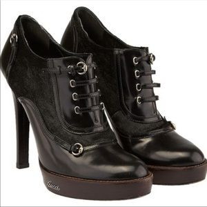 Gucci Patent and Leather and Pony Ankle Boots